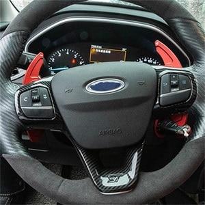 Накладка на руль для Ford Fiesta MK8 2017 2018 Focus MK4 ST 2019 2020, планки из АБС-пластика и углеволокна, наклейки, автомобильные аксессуары