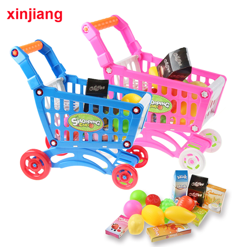 Shopping Cart With Wheels Pretend Play Kitchen Set Food Toys Grocery Trolley For Kids Supermarket Playset Gifts Toddlers Girls }
