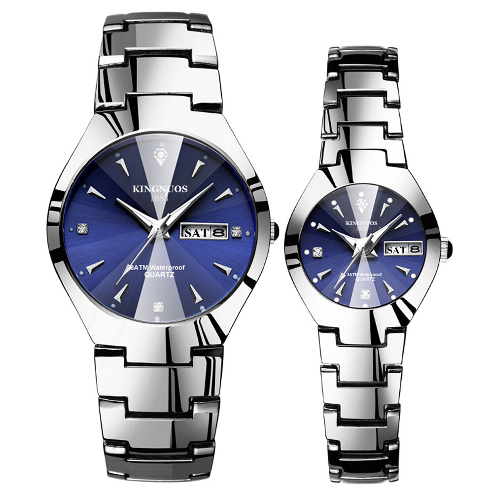Часы для влюбленных Роскошные Кварцевые наручные часы для мужчин и женщин Hodinky Dual Calender Week steel Saat Reloj Mujer Hombre парные часы - Цвет: Couple Silver Blue