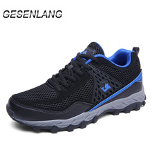 Купить с кэшбэком Spring Men's Hiking Shoes Mesh Breathable Big Size Male Sneakers Outdoor Camping Mountain Climbing Wearable Trail Trekking Shoes