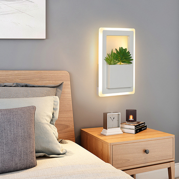 22x15cm Creative Modern Led Wall Light For bedroom light Bedside wall lights With Plant White Color Wall Lamp Sconce Fixtures