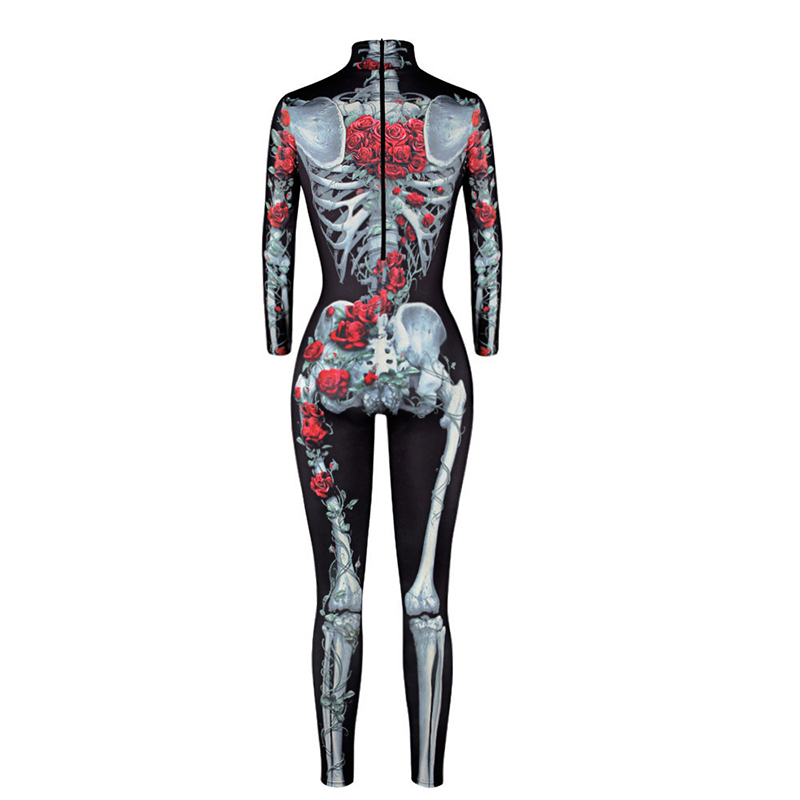 Image 4 - New Women Sexy Bodysuits Halloween Costumes For Women 3D Skull Rose Printing Jumpsuits Punky Back Yoga Day of the Dead    -