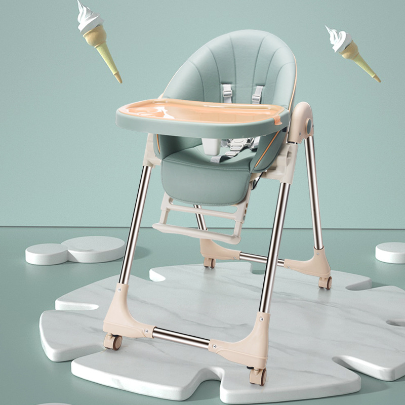 Newborn Baby Chair Upgrade With Wheels Portable Infant Seat Adjustable Folding Baby Dining Chair High Chair Baby Feeding Chairs