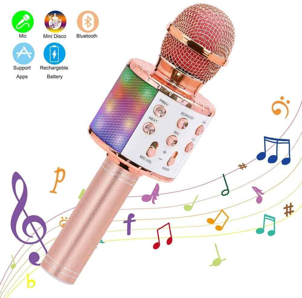 Micrófono de Karaoke inalámbrico, altavoz Portátil con Bluetooth, reproductor de KTV casero con luces LED de baile, función de grabación para niños