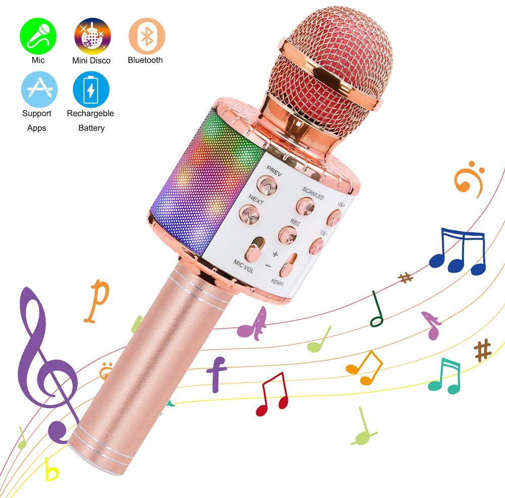 Wireless Karaoke Microphone Bluetooth Handheld Portable Speaker Home KTV Player With Dancing LED Lights Record Function For Kids