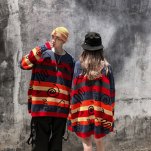 Color Block Striped Graffiti Pullover Sweater Oversize Men and Women Round Neck Hip Hop Knit Sweaters Streetwear Baggy Sweater