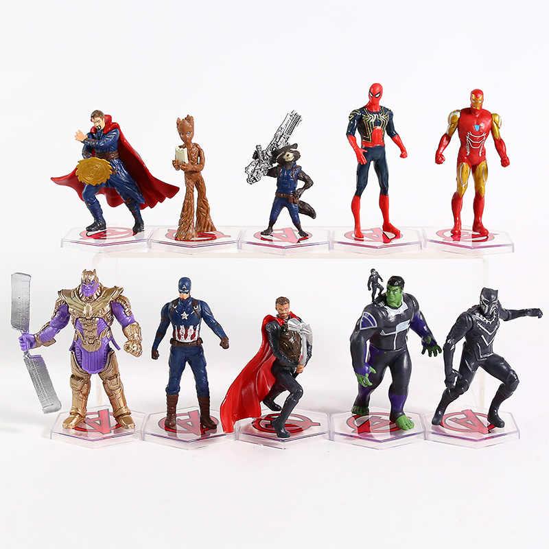 Avengers Endgame หมอแปลก ANT Iron Man Thor กัปตันอเมริกา Spiderman Hulk Black Panther ROCKET PVC ตัวเลขของเล่น 10 ชิ้น/เซ็ต