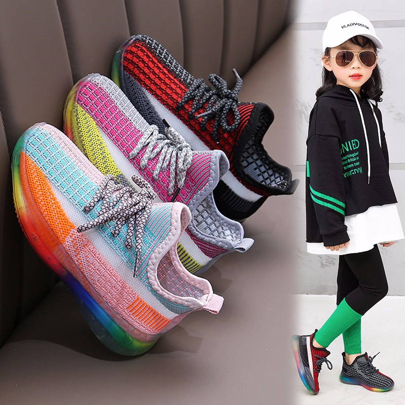 Children Colorful Shoes Grils Sneakers 2020 New Spring Boys Shoes Kids Sport Breathable Running Light Mesh Sneakers Casual Shoe
