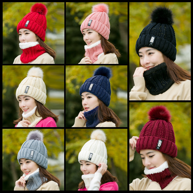 New Winter Hat Scarf Set For Ladies Girls Fashion Cotton Warm Pom Poms Hat + Scarf 8 Color Cute Women Hat Scarf Set