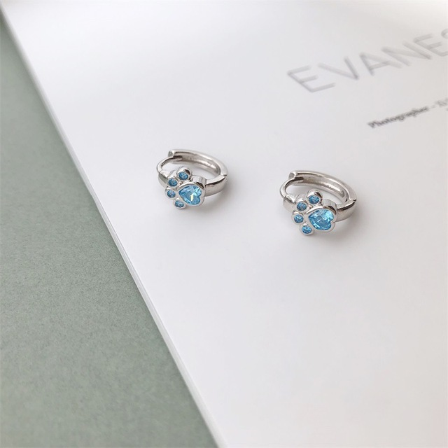 Dog Silver Blue Paw Earrings 5