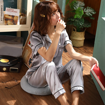 Women Pajamas Set Sleepwear Winter Long Sleeve Mujer Pijamas Nuisette Sexy Lingerie Nightwear Silk Satin Pyjamas pjs Suit 2Pcs 26