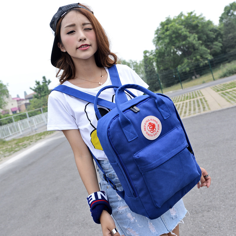 2016 New Style Korean-style Round Plate Backpack Hand Dual Purpose Backpack Canvas Casual College Style Men And Women School Bag