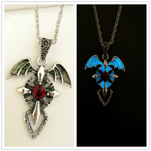 New Glow In The Dark Necklace Charm Angle Wings Demon Cross Luminous Pendant Men Classic Jewelry for Party Accesories