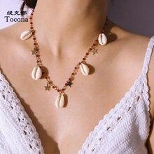 Tocona-Collar de cuentas Rojas bohemias para mujer, gargantilla de cadena de estrella de concha de verano 2020, accesorios de joyería, 8291