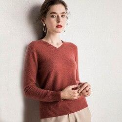 Новинка, 15 модных цветов, 100% кашемир, женский свитер с v-образным вырезом, Классический светильник, мягкий кашемировый пуловер, Свитера V Basic, ...