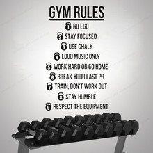 Gym Rules Motivational Quotes Wall Decal  crossfit healthy life wall sticker vinyl home decor JH198