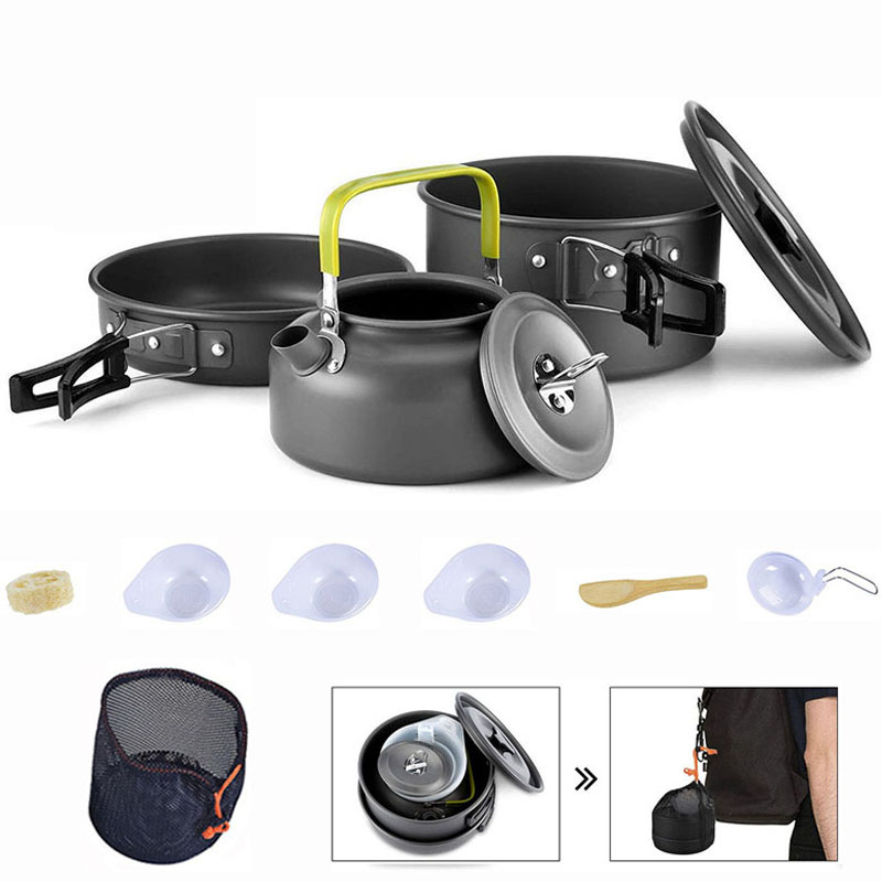 Portable Camping Cookware Water Kettle Pan Pot Bowl Cup Alumina Cooking Kits Tableware Utensils Hiking Picnic Camping Equipment|Outdoor Tablewares|   - AliExpress