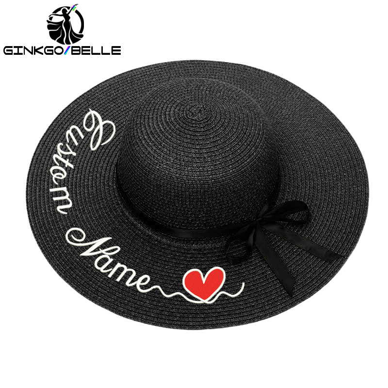 Custom Sun Hat For Womens Summer Personalized Customize Embroidery Text Name Straw Beach Bride Bridesmaid