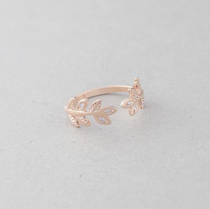 ดอกไม้คริสตัลใบออกแบบแหวนแฟชั่นผู้หญิงแหวนนิ้วมือเครื่องประดับของขวัญ AADUOXJZ