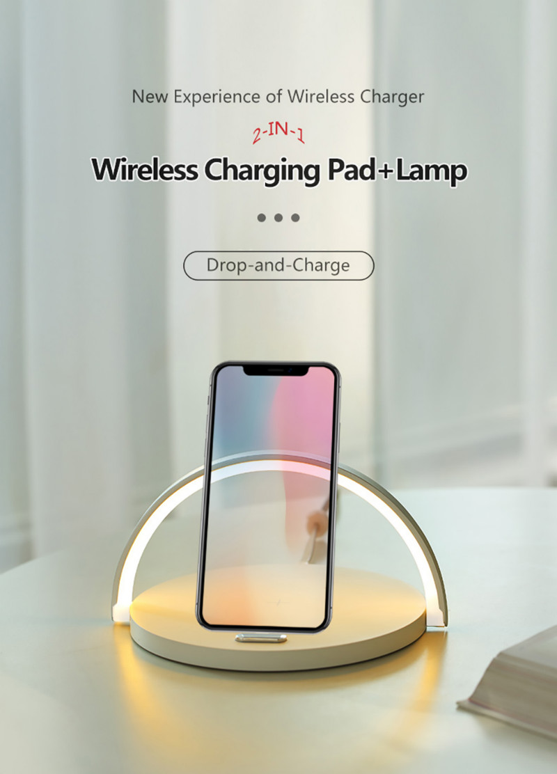 Fast Qi Wireless Charger Table Lamp for Samsung S10 5G S9 + S8 Note10 9 iPhone 8Plus X XR XS 11 PRO Max Charging night light Pad 6