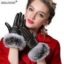 INDJXND, осенние женские перчатки из натурального кроличьего меха, теплые перчатки из искусственной кожи, черные варежки, зимние женские бархатные перчатки