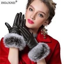Autumn Gloves Women Genuine Rabbit Fur PU Leather Warm Gloves Black Mittens And Winter Ladies Full Palm Touch Velvet Ladies G037