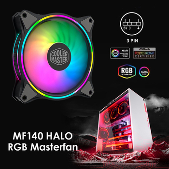 MF140 HALO 14cm DC 12V Cooling Fan for PC Computer ARGB 4-Pin PWM Radiator Colorful Desktop Computer Cooler PC Accessories image