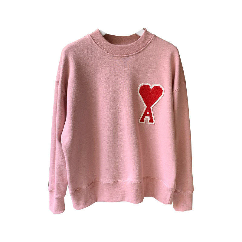 Women Hoodie Peach Heart Flannelette Sweatshirt Three Colors Casual