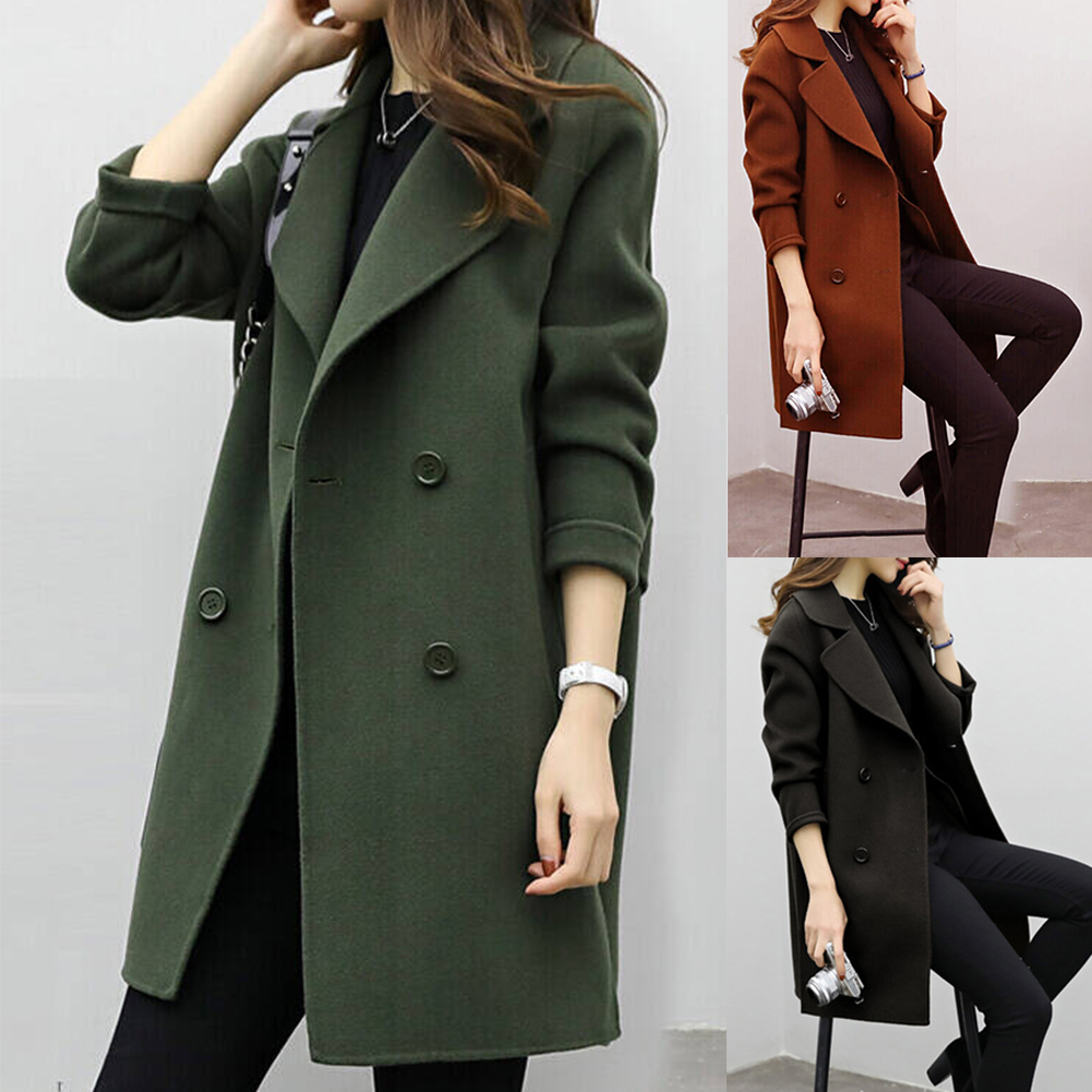 Women Coat Autumn Winter Thickening Fashion Double Breasted Artificial Wool Warm Slim Fit Daily Long Sleeve Turndown Collar