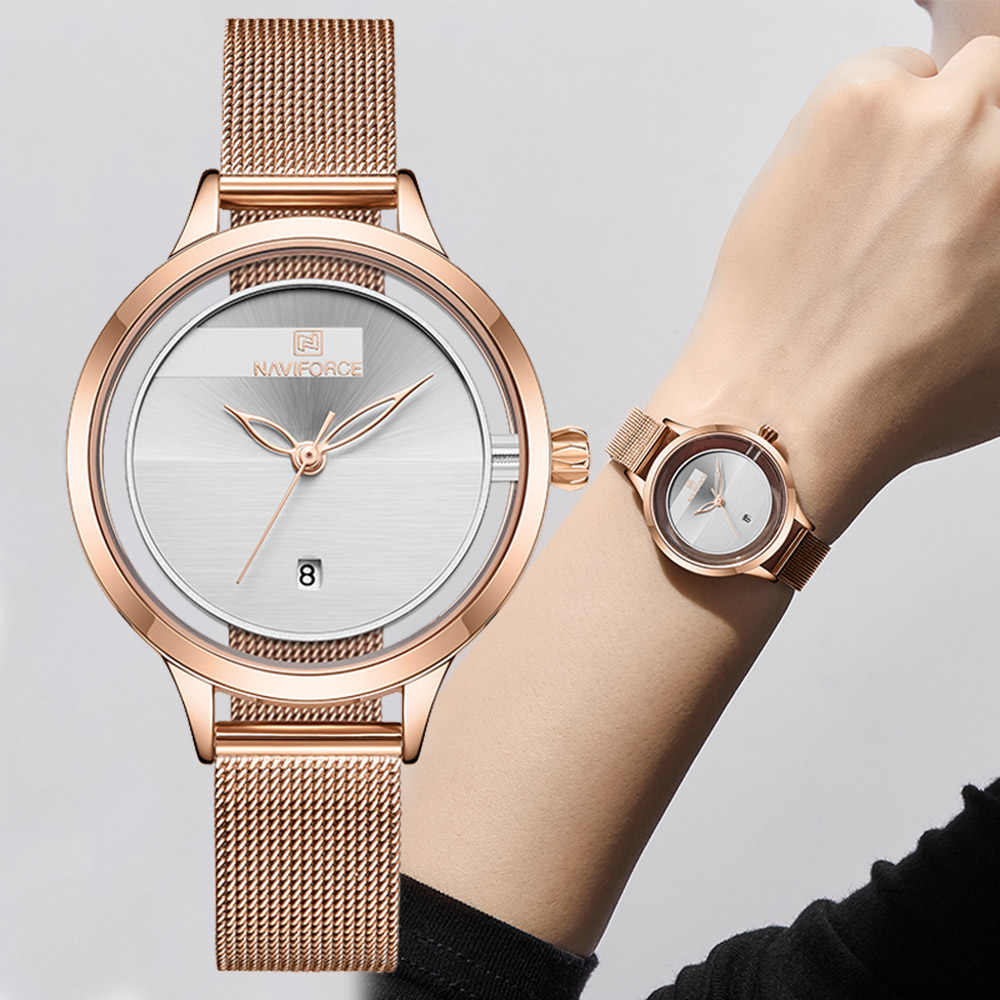 NAVIFORCE แฟชั่นผู้หญิงนาฬิกาแบรนด์หรูสุภาพสตรีนาฬิกาตาข่ายสแตนเลสสตีลกันน้ำนาฬิกาข้อมือควอตซ์ Reloj Mujer