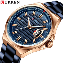 CURREN markowe zegarki męskie luksusowe biznesowe zegarki kwarcowe moda męska pasek ze stali nierdzewnej zegar z automatyczną datą Relojes