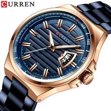 Curren marca relógios masculinos de luxo negócios quartzo relógios de pulso moda banda de aço inoxidável relógio de data automática relojes