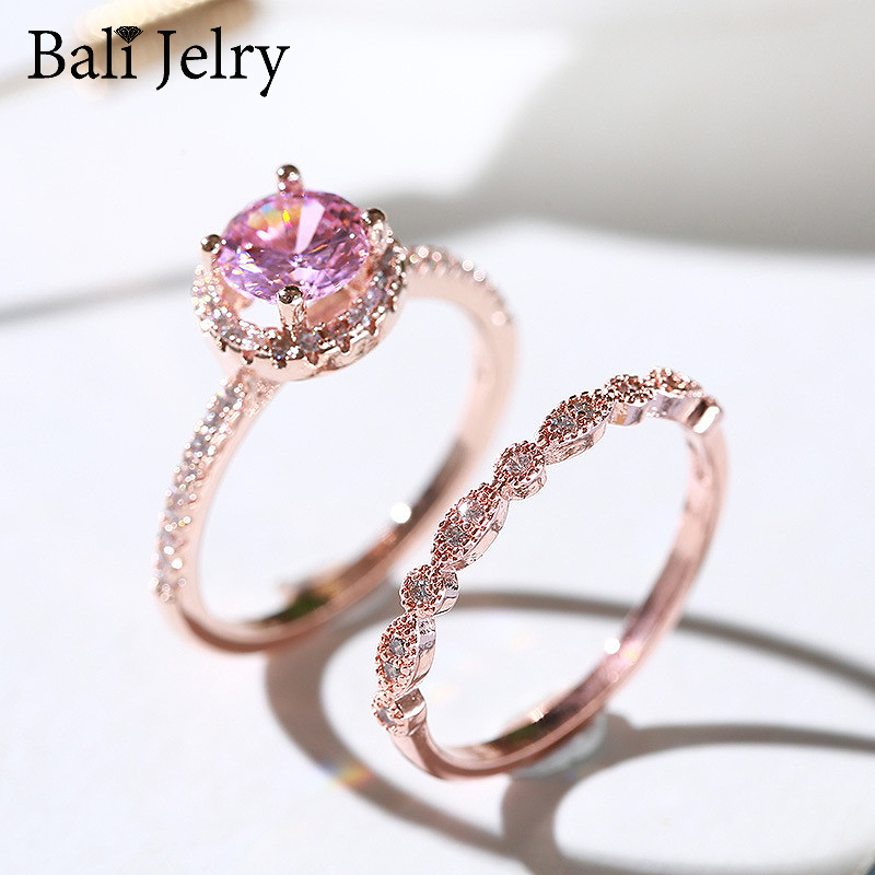 Bali Jelry Trendy Silver 925 Ring Jewelry Round Pink Zircon Gemstone 2 in 1 Charm Rings for Women Wedding Engagement Accessories