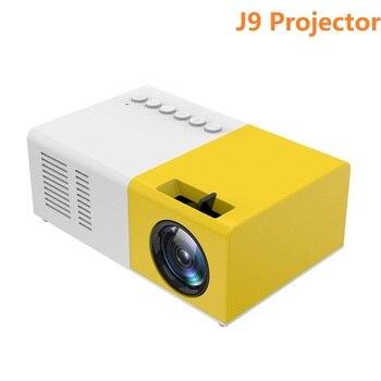 J9 portátil mini projetor 1080p mini casa projetor av usb sd tf cartão usb portátil bolso beamer com telefone pk yg300