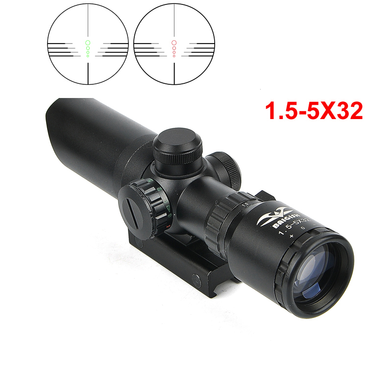 1-5-5x32-Short-Scope-with-Red-Dot-Green-Illuminated-Hunting-Scope-Fit-Rail-20mm-Crossbows