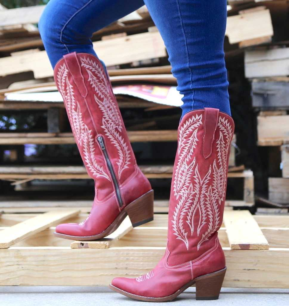 JODIMITTY Classic Embroidered Western Cowboy Boots For Women Leather Cowgirl Boots Low Heels Shoes Knee High Woman Boots Ladies