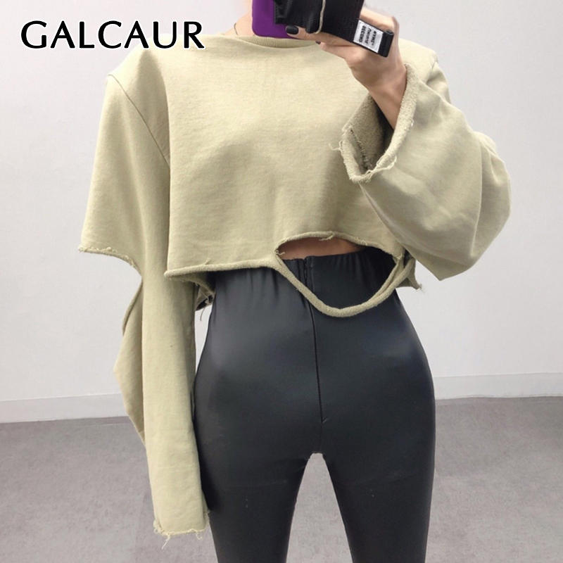 GALCAUR Streetwear Hollow Out Sweatshirt For Women O Neck Long Sleeve Female Sweatshirts 2019 Autumn Oversized Fashion New
