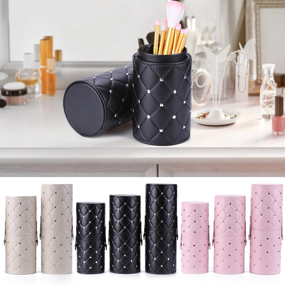 Portable Makeup Brush Storage Case  Cylinder Shape PU Leather Travel Pen Holder Cosmetic Tools Container Make Up Tools