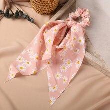 Новинка модные шелковые резинки для волос с цветочным принтом