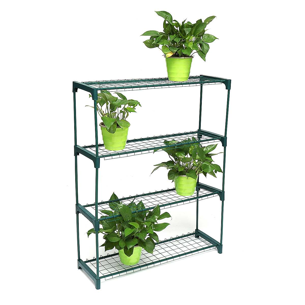 4 Tier Simple Iron Plant Shelves Flower Pot Stand Display Decor Home Garden Plants Holder Multi-function Storage Rack