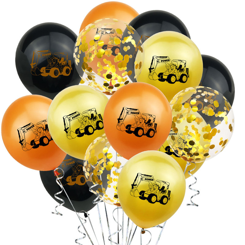 10pcs Construction Party Balloons For Boy`s Birthday  Baby Shower Cartoon Car Confetti Balloons Christmas Decorations For Home