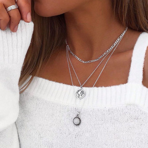 Vintage Silver Color Alloy Map White Drop Resin Stone Pendant Necklace for Women 2021 Fashion Figaro Chain Layered Necklace