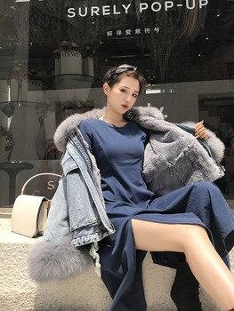 FREE SHIPPING*2019 Fabric Coat Rex Rabbit Fur Inside, Big Fox Fur Trimming,Cuff Real Fur Jacket BE-1901 2