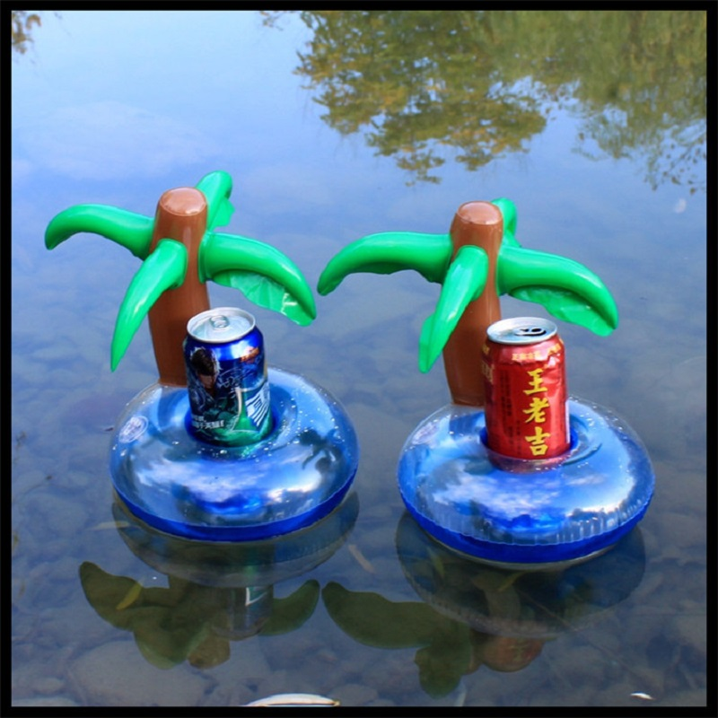 Inflatable Toys Coconut Tree/yellow Duck/mushroom/swan Cup Holder  Water Coasters Floating Drinks Cup Holders Summer Pool Party