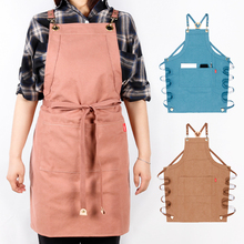 WEEYI Fashion Canvas Kitchen Aprons For Woman Men Chef Work Apron For Grill Restaurant Bar Shop Cafes Beauty Nails Studios