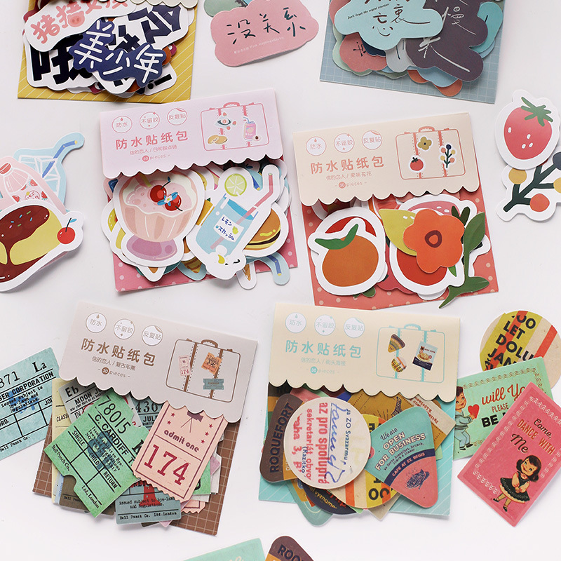 Mohamm 30PCS Lovely You Series PVC Waterproof Sticker Creative Cute Sticker Flakes Scrapbooking Girl School Supplies Stationery
