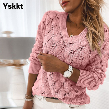 Women Knitted Sweater Oversize V Neck Sweater Spring Autumn Loose Long Sleeve Lightweight Hollow Out Pullovers Sweaters Tops недорого