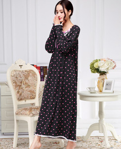 Image 4 - Robe de nuit Extra longue en coton pour femmes, à manches longues, vêtements tricotés, princesse, pour salon, Lingerie intime, pour printemps, automne et hiver
