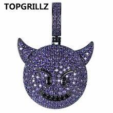 TOPGRILLZ Colgante con forma de corazón y sonrisa para mujer, colgante con circonita cúbica bañada en zirconia cúbica, diseño de perro, mono, Hip Hop, joyería