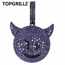 Necklace Hip-Hop jewelry Smile-Pendant Cubic-Zircon-Plated Iced-Out Demon TOPGRILLZ Heart